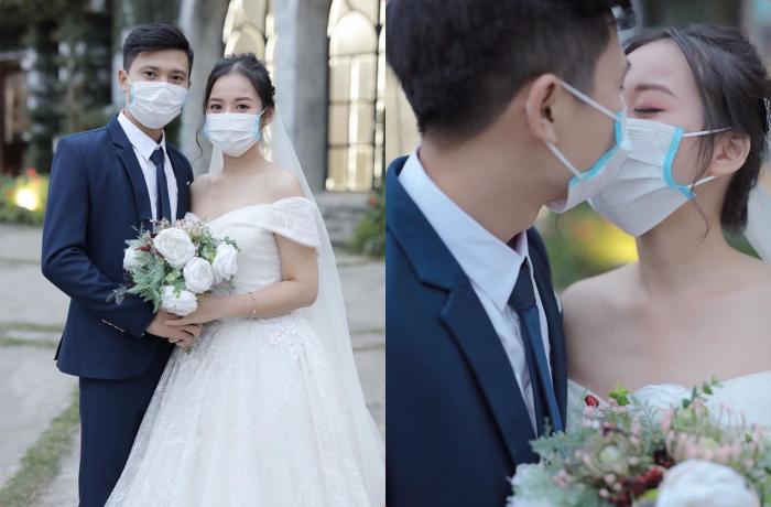 Giữa tâm bão Corona, cặp đôi vẫn bất chấp đeo khẩu trang chụp ảnh cưới: Chẳng có việc gì khó, chỉ cần có tình yêu!
