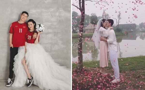 """Tung ảnh cưới theo concept """"cầu thủ"""", Duy Mạnh không ngờ lại để lộ clip hôn """"Công chúa"""" phía sau tòa lâu đài cổ tích"""