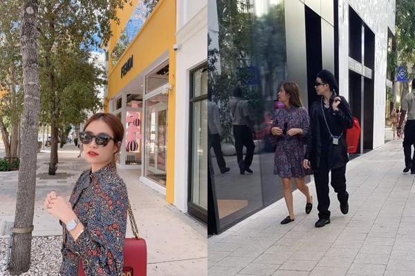 """Sang chảnh trên đường phố Mỹ, nhưng chiếc kính râm """"phản chủ"""" khiến Hoàng Thuỳ Linh lộ luôn người đi cùng"""