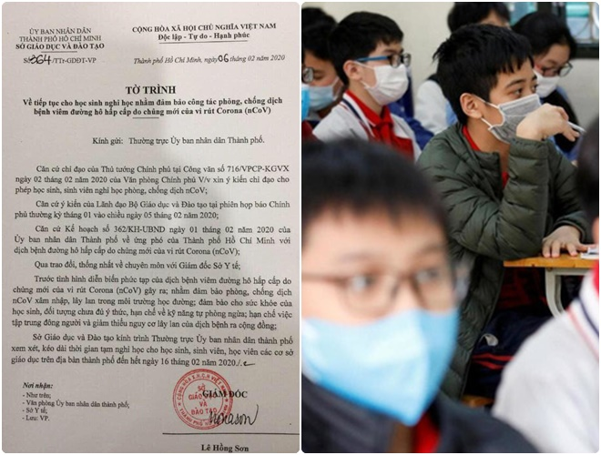 Sở GD&ĐT TP HCM đề xuất cho học sinh nghỉ học đến hết ngày 16/2 do tình hình dịch Corona diễn biến phức tạp
