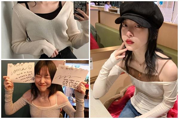 """Trend xứ Hàn """"áo len cổ rộng kết hợp cùng áo hai dây"""" của Sulli bỗng hot trở lại khi có thể khoe xương quai xanh quyến rũ"""