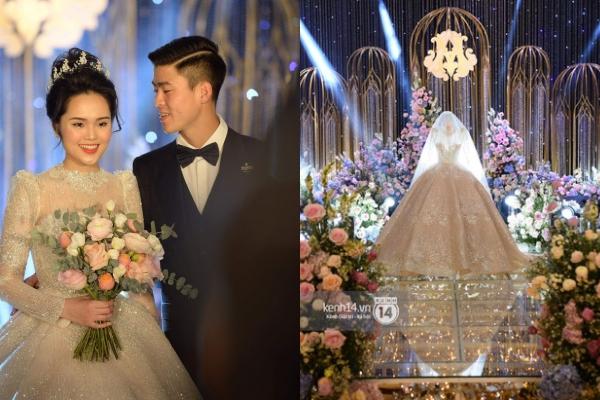 Zoom cận cảnh chiếc váy cưới được Quỳnh Anh trưng bày giữa lễ đường khiến hội chị em ghen tị