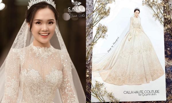 Quỳnh Anh chính thức tiết lộ giá của chiếc váy cưới xa hoa được thiết kế độc quyền, không phải con số trăm mà đã lên đến 1 tỷ đồng
