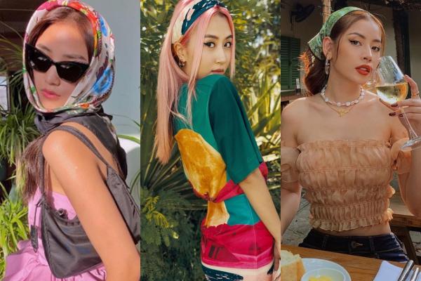 Sau trào lưu lấy khăn làm áo, sao Việt lại cực sang chảnh với mốt khăn buộc đầu dự sẽ tạo nên hottrend trong hè này
