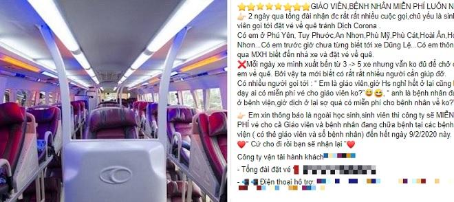 Hãng xe tiếp tục miễn phí vé cho học sinh, sinh viên từ TP HCM về Nha Trang tránh dịch Covid-19