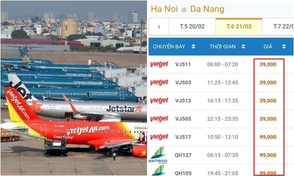 Giá vé máy bay giảm thấp kỷ lục chưa từng có trong vài chục năm: Hà Nội – Đà Nẵng chỉ có 39k, thương gia chưa tới 1 triệu