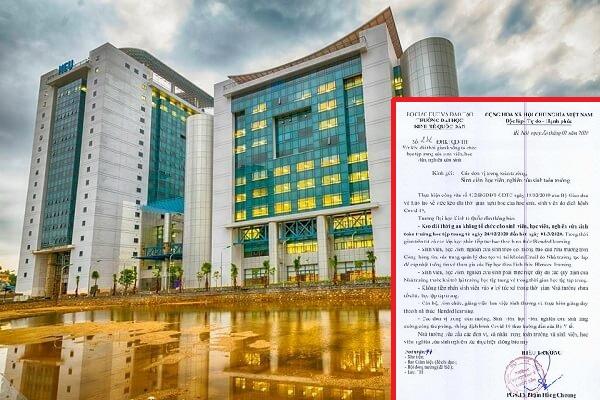 ĐH Kinh tế Quốc dân thông báo kéo dài thời gian nghỉ học của sinh viên phòng dịch Covid-19