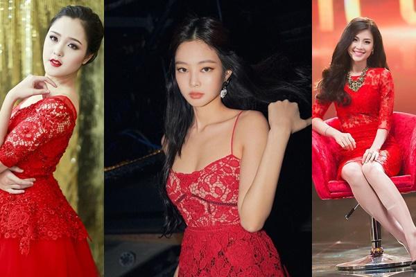 """Váy ren đỏ """"kém sang"""" của nhiều mỹ nhân Việt vẫn phải """"chào thua"""" trước độ sang chảnh của Jennie (Black Pink)"""