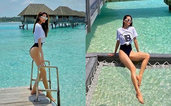 """Hà Hồ khoe body """"siêu nuột"""" ở Maldives, danh tính người chụp và chỉnh ảnh càng khiến fan ngỡ ngàng"""