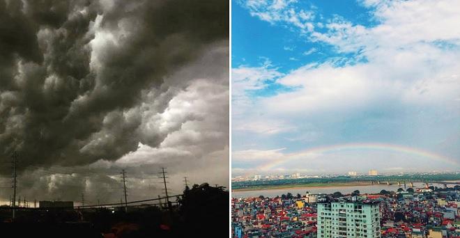 Mưa giông kỳ lạ ở Hà Nội: Cầu vồng trông như cầu vượt xuất hiện sau khi trời tối đen như mực