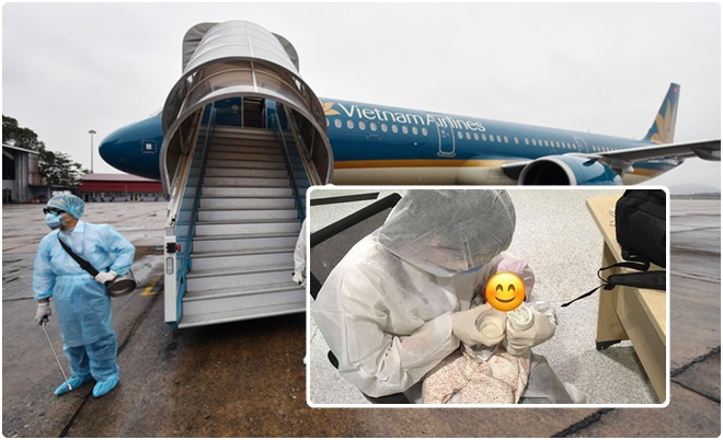 Xúc động chuyến bay đặc biệt đưa bé 2 tháng tuổi về từ Hàn Quốc, cha mẹ ở lại chống chọi dịch Covid-19