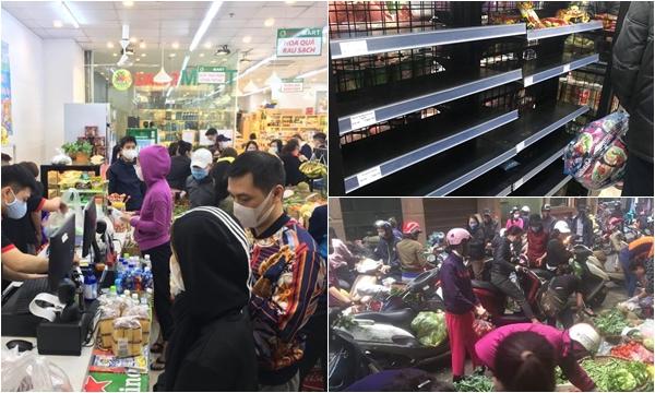 """Khung cảnh chưa bao giờ có: Siêu thị, chợ Hà Nội """"vỡ trận"""" từ nửa đêm đến sáng sớm sau ca nhiễm thứ 17"""