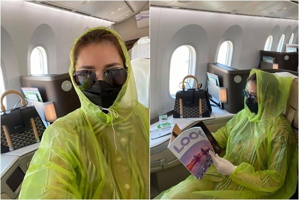 """Tình cũ Trường Giang trùm áo mưa kín mít trên máy bay phòng dịch Covid-19: """"Ai nói tôi điên thì tùy"""""""