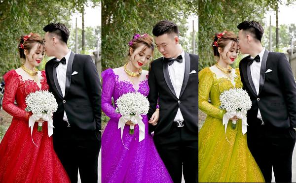 """Vợ thích mặc nhiều váy cưới trong hôn lễ nhưng không đủ kinh phí, chú rể giúp vợ """"hô biến"""" bằng loạt váy 7 sắc cầu vồng"""