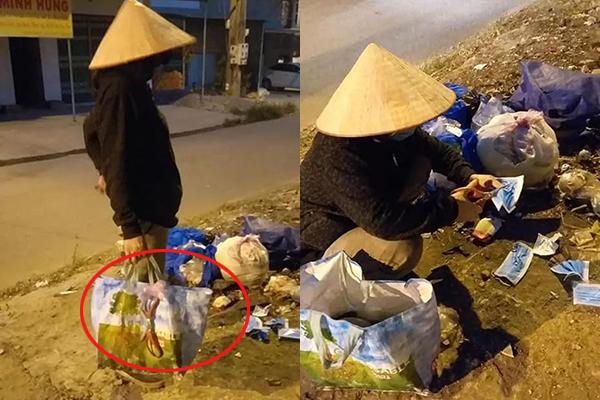 Người phụ nữ ve chai lặng lẽ tìm khẩu trang trong từng đống rác để cắt bỏ, tránh những kẻ hám lợi nhặt lại tái sử dụng