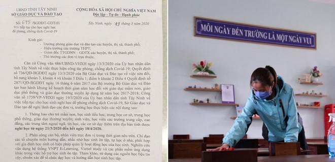 Sở GD&ĐT Tây Ninh cho toàn bộ học sinh, sinh viên nghỉ đến hết ngày 18/4