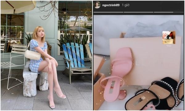 """Ngọc Trinh khoe sắm 2 đôi giày mới """"té ngửa"""" ra nhiều sao Việt đã dùng từ bao giờ, có khi còn chờ săn sale"""