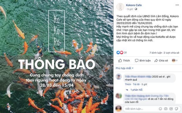 Loạt quán cafe nổi tiếng ở Đà Lạt thông báo tạm đóng cửa để phòng dịch Covid-19