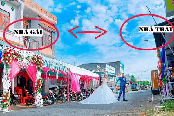 """Vì sợ say xe cô gái """"chốt"""" luôn anh hàng xóm, đám cưới 2 nhà chỉ cách nhau 10 bước chân!"""