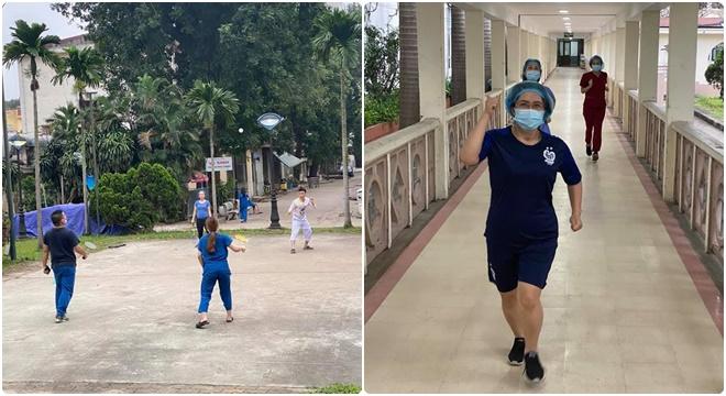 Đội ngũ y bác sĩ tại tâm dịch Bệnh viện Bạch Mai những ngày cách ly vẫn lạc quan, cùng nhau rèn luyện sức khỏe