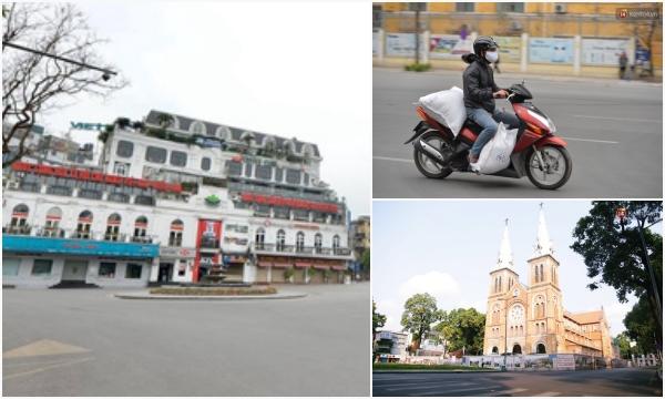 """Khung cảnh """"vắng hơn mùng 1 Tết"""" ở Hà Nội và Sài Gòn sau chỉ thị cách ly toàn xã hội"""