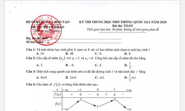 Đề thi minh họa và đáp án kỳ thi THPT Quốc gia 2020 của Bộ GD&ĐT: Môn Toán - Lý - Hóa