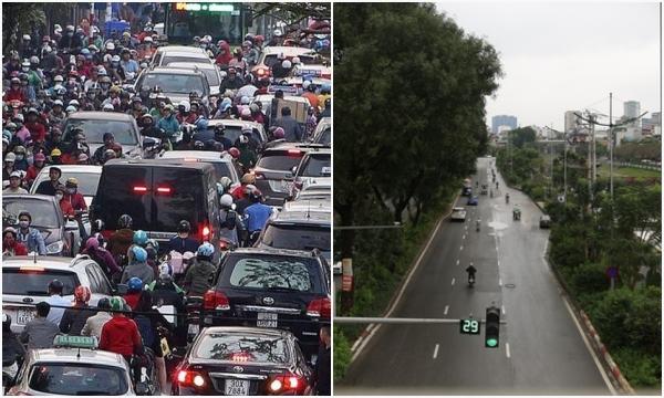 """Cảnh tượng khác lạ tại những con phố """"điểm đen"""" ùn tắc của Hà Nội giữa mùa dịch Covid-19"""