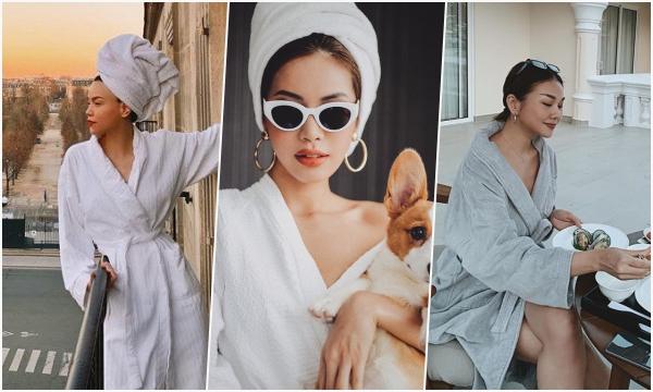 Cần gì phải đi đâu giữa mùa dịch, chỉ khoác áo choàng tắm thôi sao Việt đã có ngay rổ ảnh xịn sò
