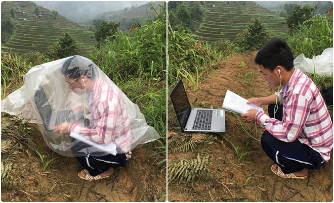Nam sinh vùng cao lặn lội 10 km lên núi mỗi ngày để học online: Trời mưa thì che máy tính, người ướt sũng