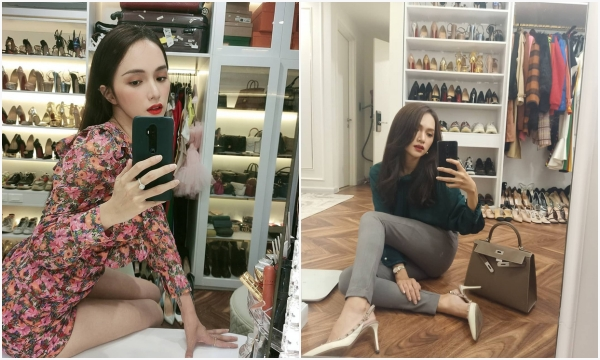 Một mũi tên trúng 2 đích, Hương Giang selfie vừa khoe ảnh đẹp tại gia vừa khiến dân tình mãn nhãn với BST giày - túi