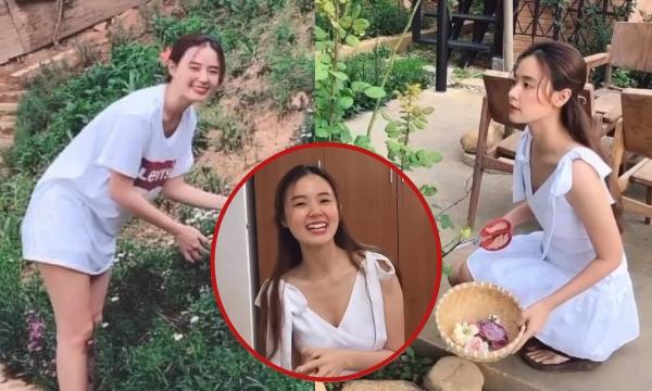"""Midu bất ngờ hoá """"Tiên nữ đồng quê"""" phiên bản Việt, để hẳn mặt mộc, tự trồng rau, hái hoa làm trà"""