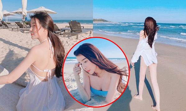 """Sau bức ảnh """"phì phèo"""", bạn gái tin đồn của Quốc Trường lại khoe dáng nóng bỏng bên bờ biển"""