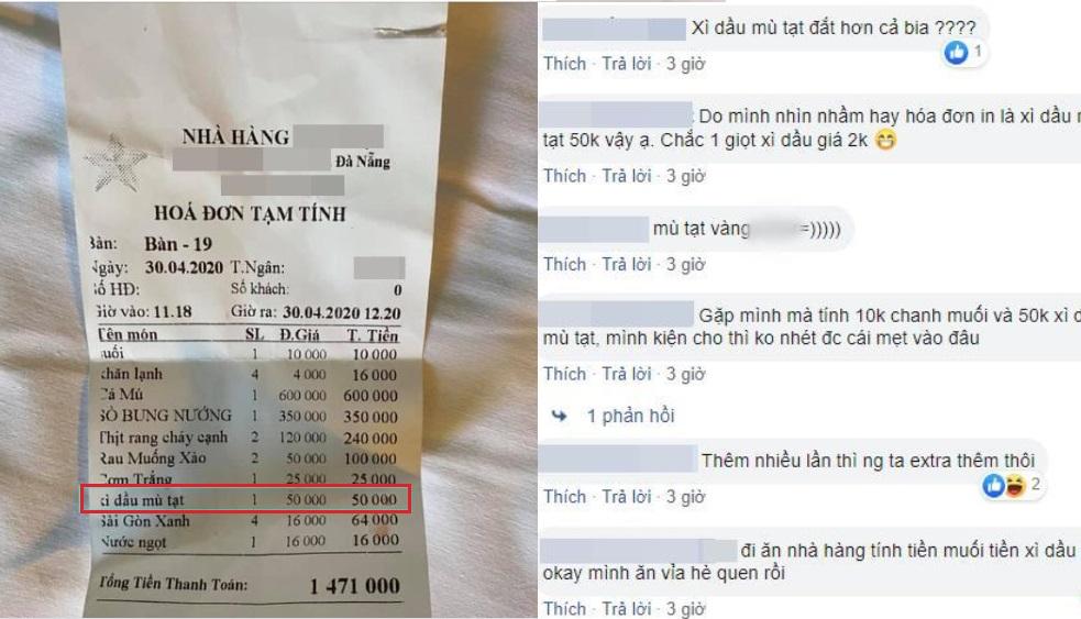 Đi ăn dịp nghỉ lễ, khách giật mình với hóa đơn gần triệu rưỡi bị tính 50 nghìn tiền... xì dầu, mù tạt