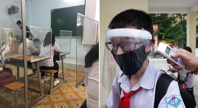 Những hình ảnh ấn tượng về biện pháp phòng tránh dịch bệnh khi học sinh trở lại trường