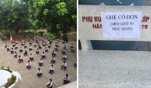 Những ngôi trường thực hiện nghiêm giãn cách khi đi học trở lại: Chào cờ cách nhau 2 m, ghế đá chỉ cho 1 người ngồi