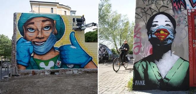 """14 tác phẩm nghệ thuật đường phố """"đỉnh cao"""" thắp sáng hy vọng trong đại dịch Covid-19"""