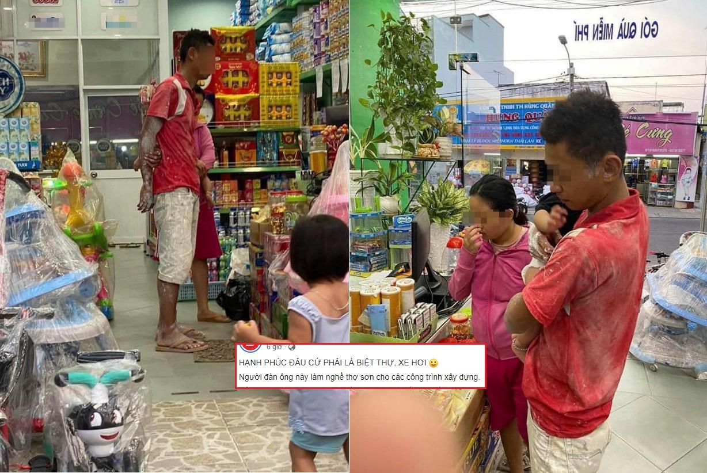 Xúc động khoảnh khắc người cha quần áo lấm lem dắt vợ con đi mua sắm vui vẻ, hóa ra hạnh phúc đơn giản là vậy!