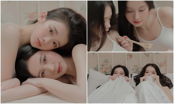 """Cặp đôi """"chị em"""" Jun Vũ và Link Ka tung bộ ảnh mặc đồ ngủ khoe vẻ đẹp """"non tơ"""" khiến bao anh thèm khát"""