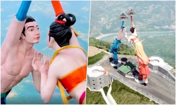 """Xôn xao """"Tượng tình nhân"""" mới toanh ở Trung Quốc vừa trình làng đã bị chê """"đạo nhái"""", đã vậy trông chẳng khác gì 2 người đàn ông"""