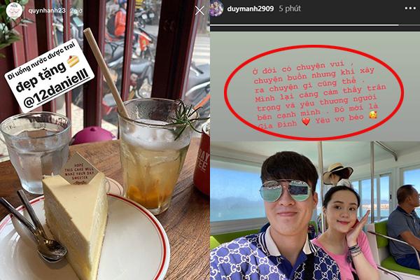 """Sau ồn ào """"đi đường quyền"""", Duy Mạnh đăng hình ảnh tình bể tình với Quỳnh Anh còn câu nịnh cực ngọt: """"Yêu vợ béo"""""""