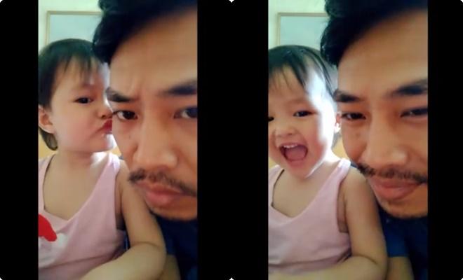 """""""Thả tim hết nấc"""" với màn tâm sự của ông bố trẻ và cô con gái nhỏ: """"Nếu thương thì hôn ba một cái nào!"""""""