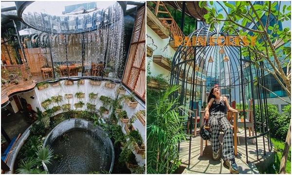 """Lộ diện quán cafe """"giếng trời"""" với thác nước lộ thiên đẹp như Singapore ở ngay Nha Trang"""