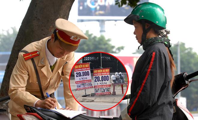 """Bảo hiểm xe máy bỗng trở thành mặt hàng hot, loại 20.000 đồng/năm bán ở lề đường vẫn bị CSGT """"tuýt còi"""""""