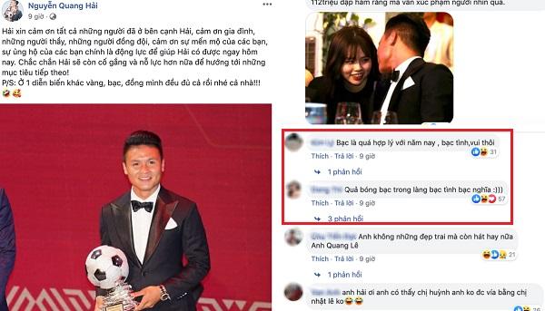 """Đăng bài cảm ơn sau khi giành Quả bóng bạc Việt Nam, Quang Hải bị fan chỉ trích: """"Bóng bạc hay bạc tình"""""""