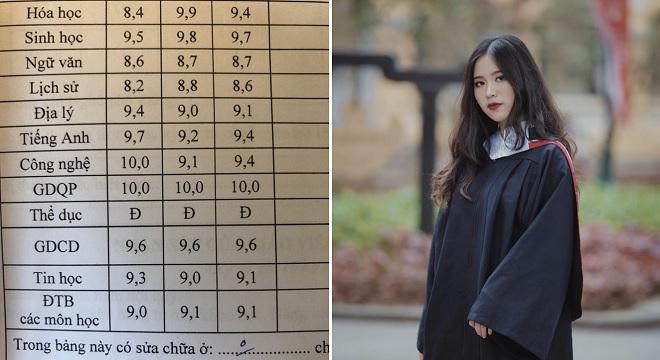 """Chủ nhân bảng điểm toàn 9 - 10 là nữ sinh xinh đẹp học """"song trường"""", 6 năm liền đạt học bổng trường nghệ thuật"""