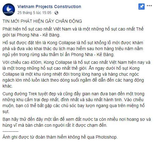 """Phong Nha không chỉ có hang Sơn Đoòng mà còn có """"hố t.ử thần"""" cao nhất Việt Nam"""