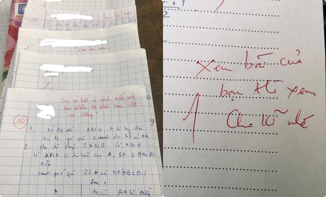 """Cho bạn chép bài nhưng chữ quá xấu nên bạn """"tạch"""", cô giáo phê một câu tất cả """"đứng hình"""""""