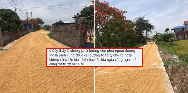 """Cảnh tượng phơi thóc kín mặt đường ở nông thôn gây tranh cãi dữ dội: """"Chạy lên lúa người ta cũng ngại mà!"""""""