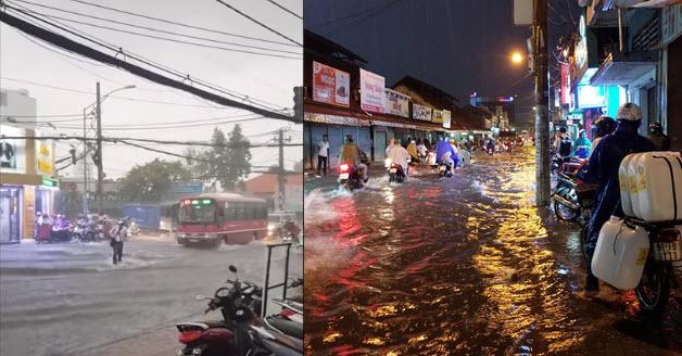 """Xem cận cảnh """"rốn ngập"""" chảy xiết như thác ở Sài Gòn, dân tình nhiều nơi lại ước mưa """"ngập cho mát"""""""