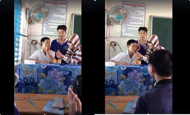 """Học sinh tổ chức sinh nhật bất ngờ trong giờ học cho thầy giáo với đĩa bánh cùng """"nến bật lửa"""" và tiếng hoan hô vang trời"""
